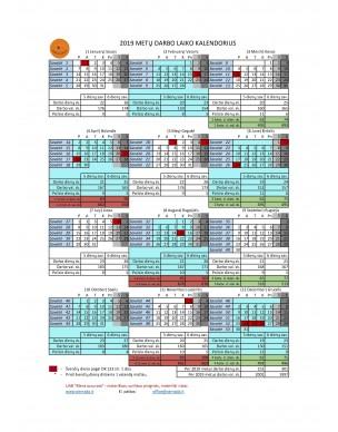 2020 Darbo Kalendorius.2019 Metų Darbo Laiko Kalendorius